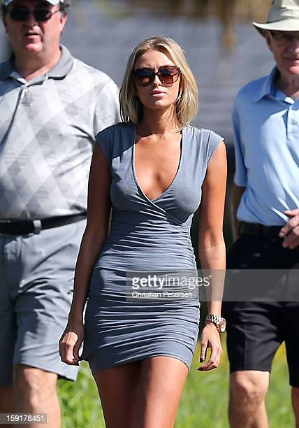 Paulina Gretzky walks along the 17th hole during the final round of the Hyundai Tournament of Champions at the Plantation Course on January 8 2013 in...