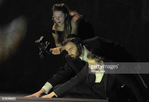 Paulina Jurzec as Live cameraEdward Hyde as Young Yoel and Collin Shay as Yoel in the Royal Opera's production of Na'ama Zisser's Mamzer Bastard...