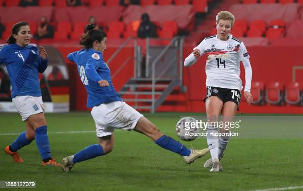 Paulina Krumbiegel of Germany scores her sides sixth goal during the UEFA Women's EURO 2022 qualifier match between Germany Women and Greece Women at...