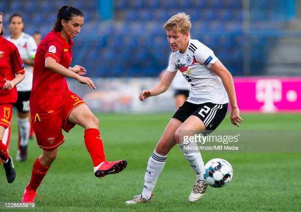 Paulina Krumbiegel of Germany takes on Djurkovic of Montenegro during the UEFA Women's EURO 2022 Qualifier match between Montenegro and Germany at...