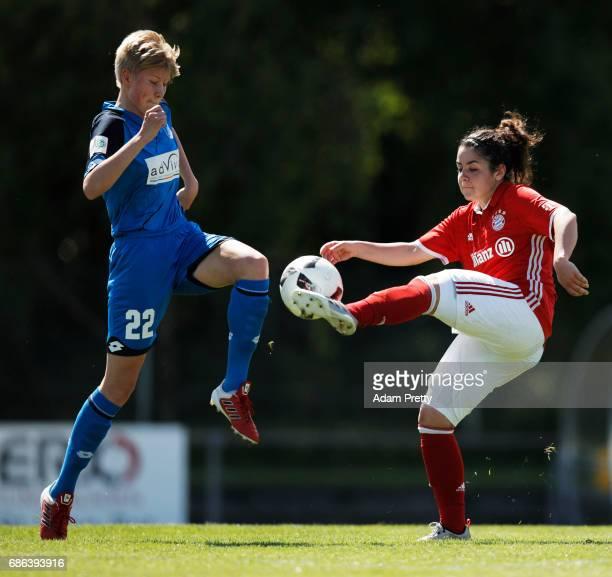 Paulina Krumbiegel of Hoffenheim II is challenged by Veronika Capoccia of FC Bayern Munich II during the match between 1899 Hoffenheim II and FCB...