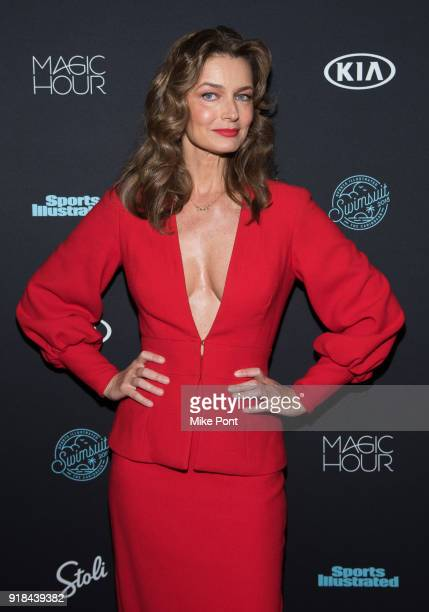 Paulina Porizkova attends the 2018 Sports Illustrated Swimsuit Issue Launch Celebration at Magic Hour at Moxy Times Square on February 14 2018 in New...
