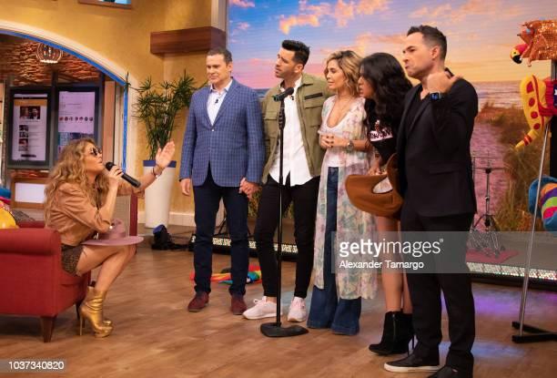 Paulina Rubio Alan Tacher Chef Yisus Karla Martinez Francisca Lachapel and Carlos Calderon are seen on the set of Despierta America at Univision...