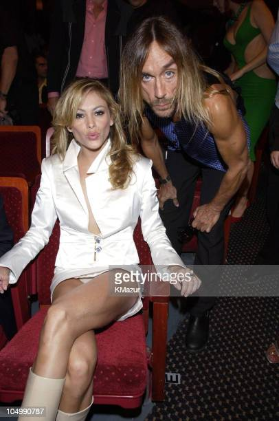 Paulina Rubio and Iggy Pop during MTV Video Music Awards Latinoamerica 2002 Backstage and Audience at Jackie Gleason Theater in Miami Florida United...