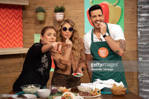 Paulina Rubio and Jesus Diaz aka Chef Yisus are seen on the set of Despierta America at Univision Studios on September 21 2018 in Miami Florida