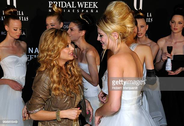Paulina Rubio and Mischa Barton attend the backstage photocall for Rosa Clara's latest bridal collection 2011, at the Fira 2 Barcelona on May 18,...