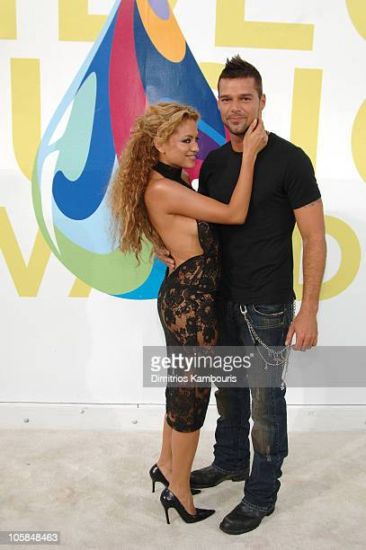 Paulina Rubio and Ricky Martin during 2005 MTV Video Music Awards - Arrivals at American Airlines Arena in Miami, Florida, United States.