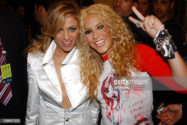 Paulina Rubio and Shakira during MTV Video Music Awards Latinoamerica 2002 at Jackie Gleason Theater in Miami FL United States