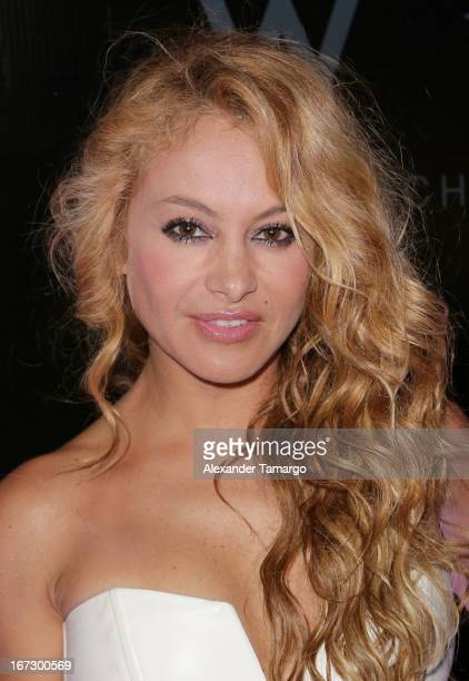 Paulina Rubio arrives at Latin Songwriters Hall of Fame Gala at New World Center on April 23 2013 in Miami Beach Florida