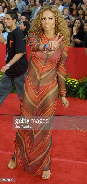 Paulina Rubio arrives at the 12th Annual Billboard Latin Music Awards April 26 2001 in Miami Beach FL The event is a showplace for Hispanic talent...