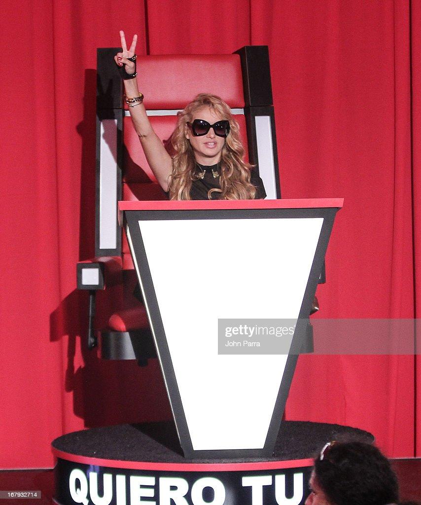 Paulina Rubio attends a press conference for Telemundo's 'La Voz Kids' on May 2, 2013 in Miami, Florida.