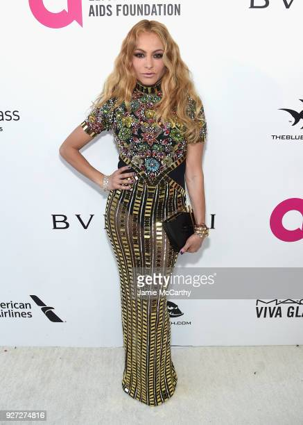 Paulina Rubio attends the 26th annual Elton John AIDS Foundation Academy Awards Viewing Party sponsored by Bulgari celebrating EJAF and the 90th...