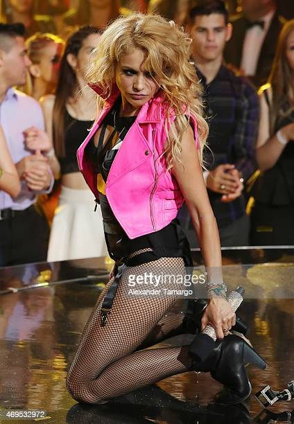 Paulina Rubio is seen performing on stage during the Nuestra Belleza Latina Grand Finale at Univision Studios on April 12 2015 in Miami Florida