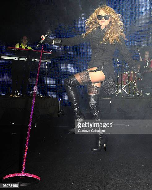 Paulina Rubio performs at Sammy Sosa's birthday party at Fontainebleau Miami Beach on November 14 2009 in Miami Beach Florida