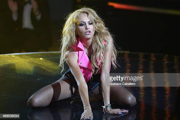 Paulina Rubio performs on stage during the Nuestra Belleza Latina Grand Finale on April 12 2015 in Miami United States