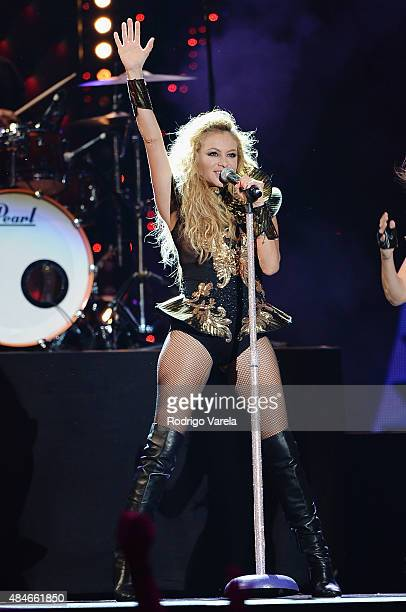 Paulina Rubio performs onstage at Telemundo's Premios Tu Mundo Awards 2015 at American Airlines Arena on August 20 2015 in Miami Florida