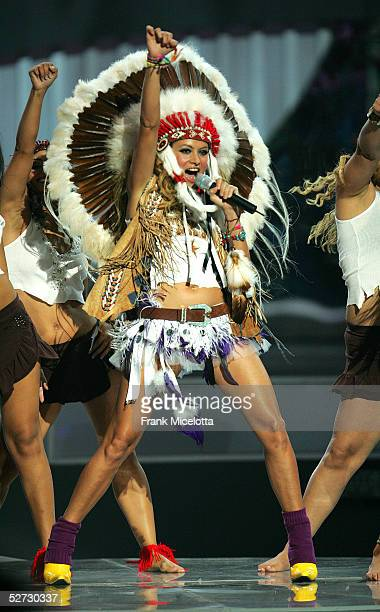 Paulina Rubio performs onstage at the 2005 Billboard Latin Music Awards at the Miami Arena April 28 2005 in Miami Florida
