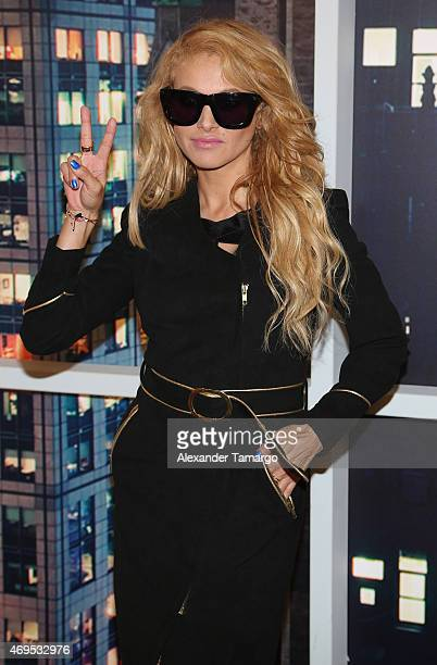 Paulina Rubio poses backstage during the Nuestra Belleza Latina Grand Finale at Univision Studios on April 12 2015 in Miami Florida