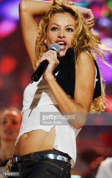Paulina Rubio rehearsing for her appearance on the 2002 ALMA Awards at the Shrine Auditorium in Los Angeles