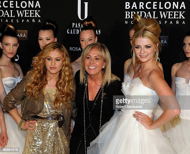 Paulina Rubio, Rosa Clara and Mischa Barton attend the backstage photocall for Rosa Clara's latest bridal collection 2011, at the Fira 2 Barcelona on...