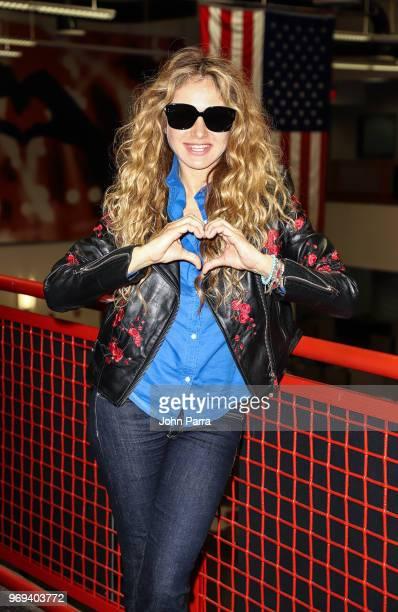 Paulina Rubio visits the Enrique Santos Show at I Heart Latino Studio on June 7 2018 in Miramar Florida