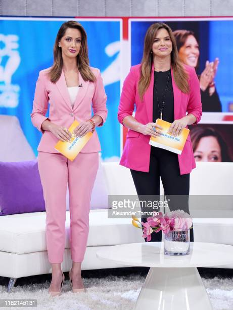 Paulina Sodi and Rashel Diaz are seen on the set of Un Nuevo Dia at Telemundo Center on November 13 2019 in Miami Florida