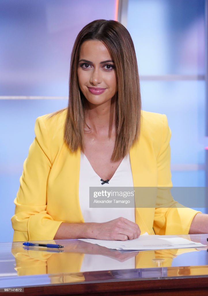 Paulina Sodi is seen on the set of 'Un Nuevo Dia' at Telemundo Center on July 12, 2018 in Miami, Florida.