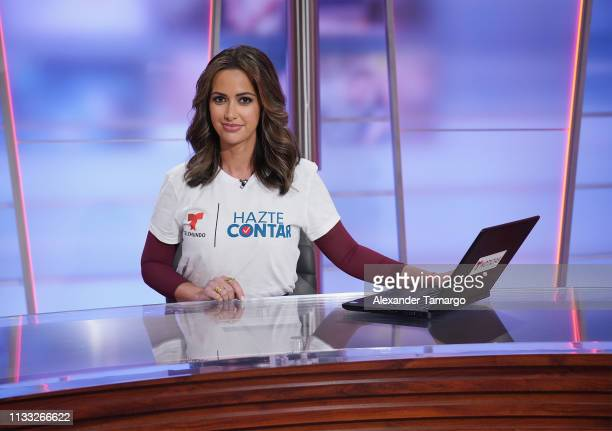 Paulina Sodi is seen on the set of Un Nuevo Dia for the Hazte Contar 2020 Census Campaign at Telemundo Center on March 28 2019 in Doral Florida