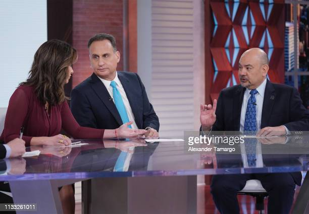 Paulina Sodi Jose Diaz Balart and Arturo Vargas are seen on the set of Un Nuevo Dia for the Hazte Contar 2020 Census Campaign at Telemundo Center on...