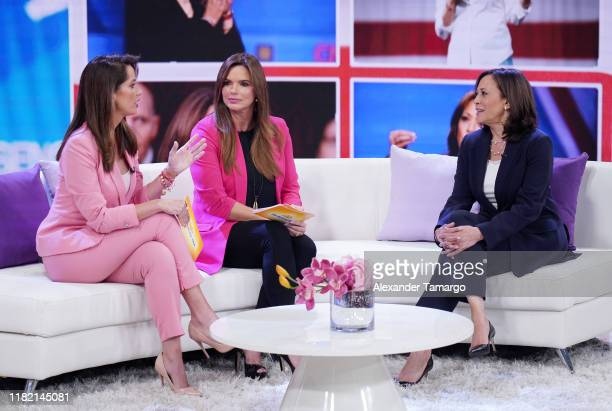 Paulina Sodi Rashel Diaz and United States Senator from California and Democratic Presidential Candidate Kamala Harris are seen on the set of Un...