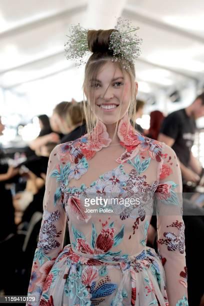 Paulina Swarovski is seen backstage ahead of the Lana Mueller show during the Berlin Fashion Week Spring/Summer 2020 at ewerk on July 01, 2019 in...