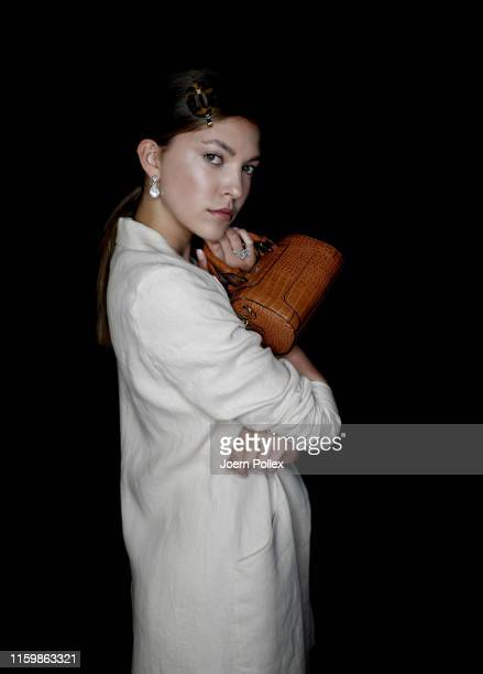 Paulina Swarovski is seen backstage ahead of the Riani show during the Berlin Fashion Week Spring/Summer 2020 at ewerk on July 03, 2019 in Berlin,...