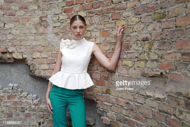Paulina Swarovski poses backstage ahead of the Irene Luft show during the Berlin Fashion Week Spring/Summer 2020 at ewerk on July 02, 2019 in Berlin,...