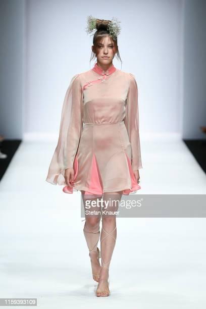 Paulina Swarovski walks the runway at the Lana Mueller show during the Berlin Fashion Week Spring/Summer 2020 at ewerk on July 01, 2019 in Berlin,...