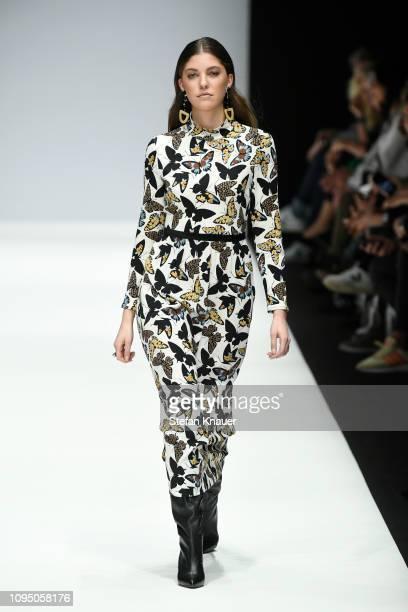 Paulina Swarovski walks the runway at the Riani show during the Berlin Fashion Week Autumn/Winter 2019 at ewerk on January 16, 2019 in Berlin,...