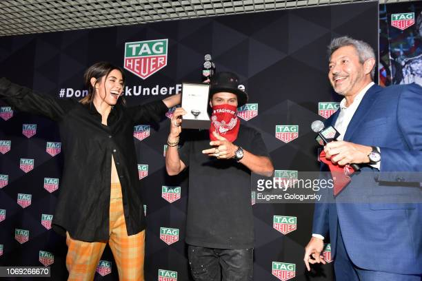 Paulina Vega Alec Monopoly and VP Marketing North America Andrea Soriani attend the TAG Heuer celebration of Art Basel Miami 2018 with the launch of...