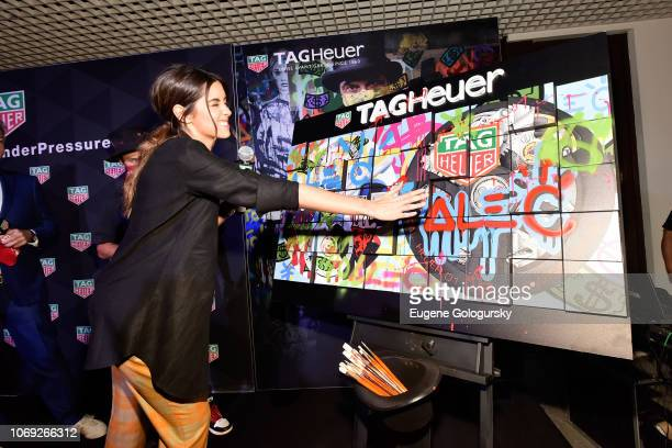 Paulina Vega attends the TAG Heuer celebration of Art Basel Miami 2018 with the launch of Alec Monopoly's special edition timepieces on December 6...