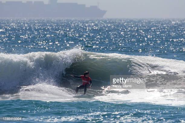 Pauline Ado of France surfs in Heat 1 of the Round of 64 at the US Open of Surfing Huntington Beach presented by Shiseido on September 21, 2021 at...