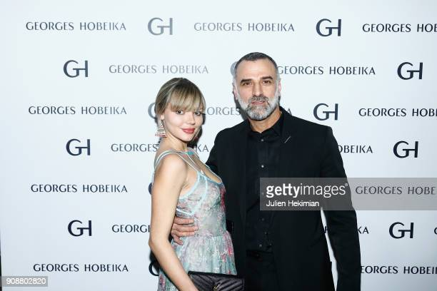 Pauline Baly and Georges Hobeika attend the Georges Hobeika Haute Couture Spring Summer 2018 show as part of Paris Fashion Week on January 22 2018 in...