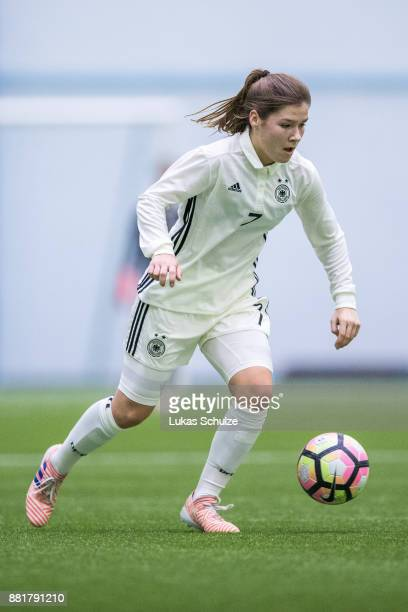 Pauline Berning of Germany in action during the U17 Girls friendly match between Finland and Germany at the Eerikkila Sport Outdoor Resort on...