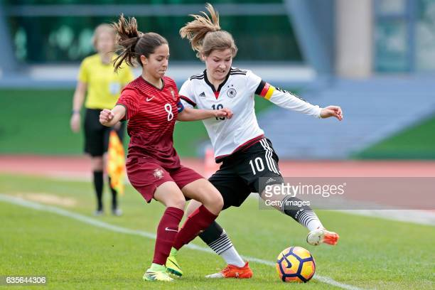 Pauline Berning of Germany U16 Girls challenges Beatriz Cameirão of Portugal U16 Girls during the match between U16 Girls Portugal v U16 Girls...
