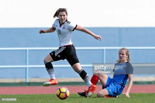 Pauline Berning of Germany U16 Girls challenges Emmy Jezequel of France U16 Girls during the match between U16 Girls Germanyl v U16 Girls France on...