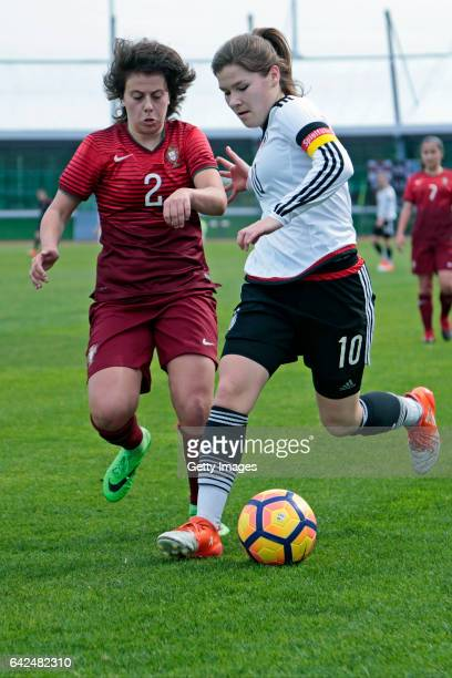 Pauline Berning of Germany U16 Girls challenges Francisca Silva of Portugal U16 Girls during the match between U16 Girls Portugal v U16 Girls Germany...