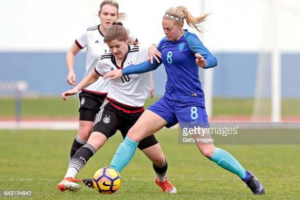 Pauline Berning of Germany U16 Girls challenges Jill Baijings of Netherlands U16 Girls during the match between U16 Girls Germany v U16 Girls...