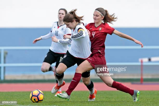Pauline Berning of Germany U16 Girls challenges Joana Lourença of Portugal U16 Girls during the match between U16 Girls Portugal v U16 Girls Germany...
