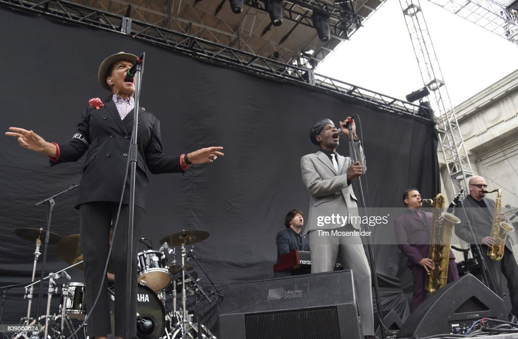 Pauline Black (L) and Arthur 'Gaps' Hendrickson of The Selecter perform during the 'From Boston to Berkeley' tour at University of California, Berkeley on August 20, 2017 in Berkeley, California.