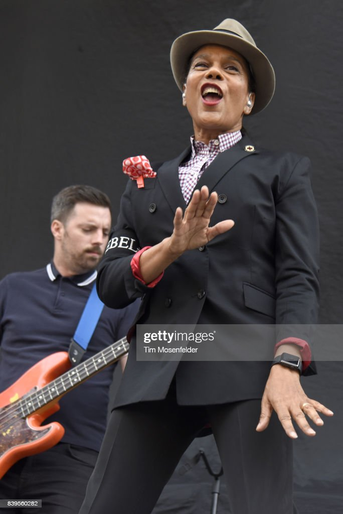 Pauline Black of The Selecter performs during the 'From Boston to Berkeley' tour at University of California, Berkeley on August 20, 2017 in Berkeley, California.