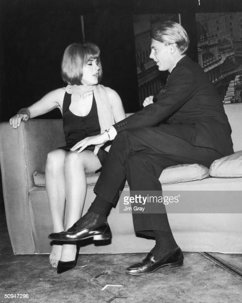 Pauline Boty and James Fox rehearse a scene from the play 'Afternoon Men', the day before it opens at the New Arts Theatre, 20th August 1963. The...