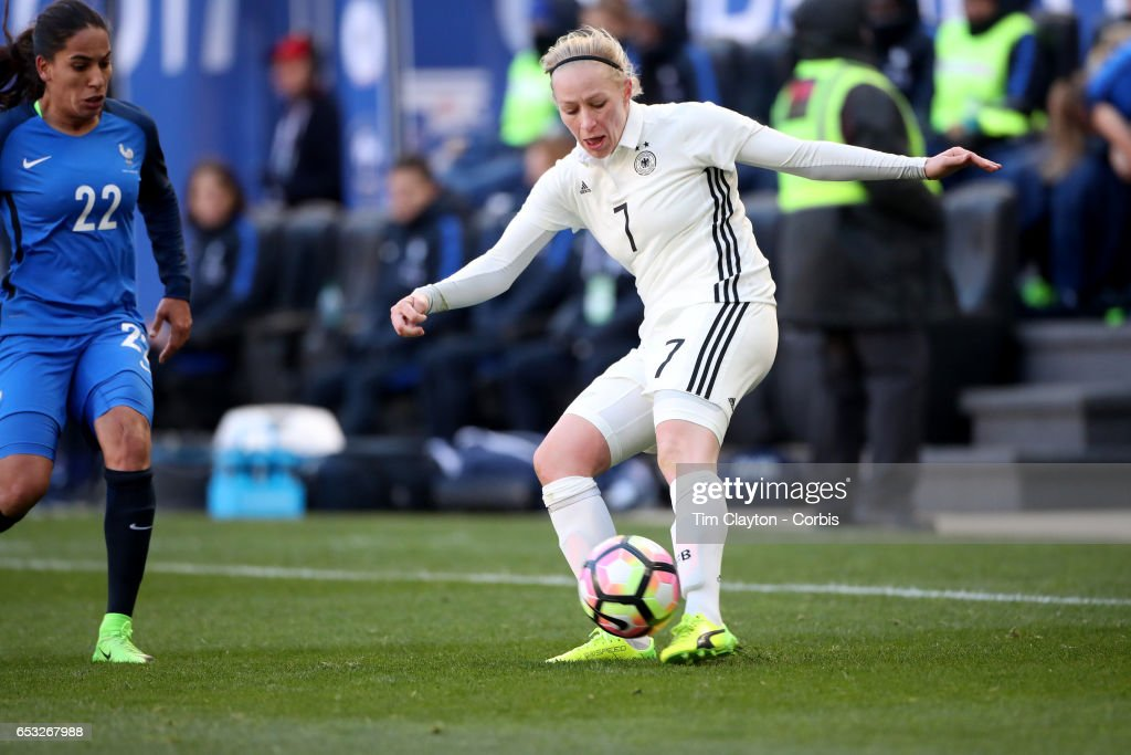 Pauline Bremer #7 of Germany challenged by Amel Majri #22 of France during the France Vs Germany SheBelieves Cup International match at Red Bull Arena on March 4, 2017 in Harrison, New Jersey.