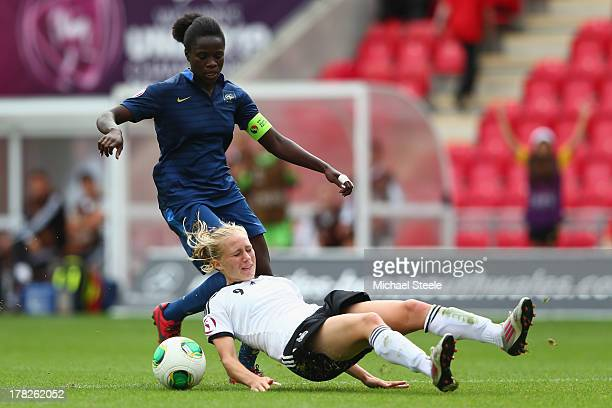 Pauline Bremer of Germany U19 women is fouled by Griedge M'Bock Bathy of France U19 women leading to Bathy being sent off during the UEFA Women's U19...